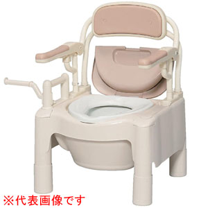 安寿 ポータブルトイレ FX-CPはねあげ はねあげちびくまくん 暖房便座 キャスター付 870-094 アロン化成