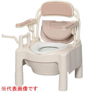 安寿 ポータブルトイレ FX-CPはねあげ はねあげちびくまくん ソフト・快適脱臭 キャスター付 870-104 アロン化成