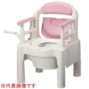 安寿 ポータブルトイレ FX-CP ちびくまくん 暖房便座 キャスター付(さくら) 870-122 アロン化成
