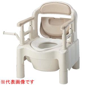 安寿 ポータブルトイレ FX-CP ちびくまくん ソフト・快適脱臭 キャスター付(ベージュ) 870-034 アロン化成