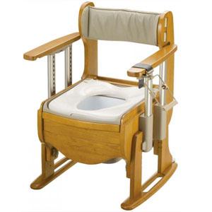 木製トイレ きらく 座優 肘掛昇降 普通便座 18670 リッチェル