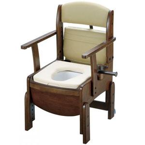 木製トイレ きらく コンパクト 固定式肘掛けタイプ やわらか便座 18520 リッチェル