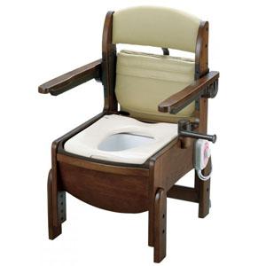 木製トイレ きらく コンパクト 跳ね上げ式肘掛けタイプ 暖房便座 18570 リッチェル