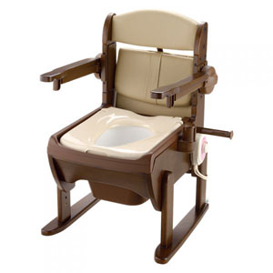 木製きらく 片付け簡単トイレ 肘掛跳ね上げ 暖房便座 19226 リッチェル