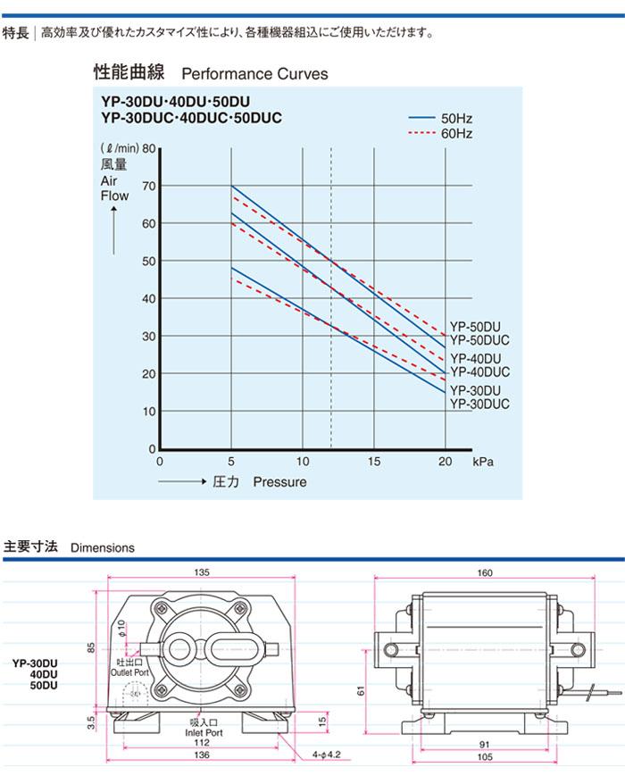 空气水泵電磁式、内装型YP-40DU