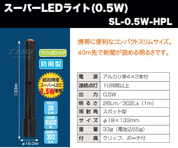 超級市場LED燈(0.5W)hosopenraito L SL-0.5W-HPL