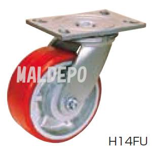 超重荷重用 H スーパーストロングキャスター H14FU-250 オーエッチ工業(OH) 自在 ウレタン φ250mm 700kg