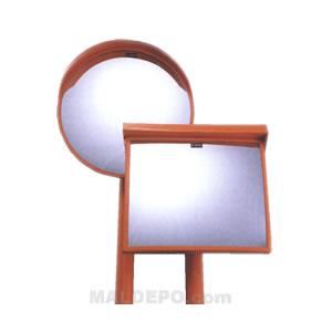 ポール付カーブミラー(丸型1面鏡) アクリル製ミラー(注意標識サイズ)400×150mm 日本緑十字社