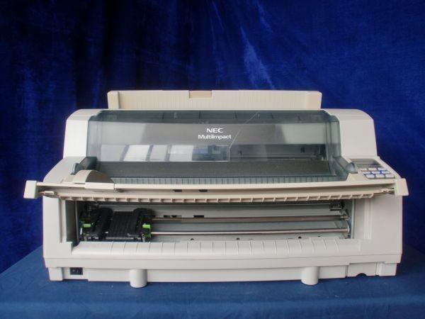 予備インクリボン付き NEC MultiImpact 700LX2 [b6446] 水平型ドットプリンタ 新品 (純正) パラレル接続対応 【中古】 前後トレイ付き