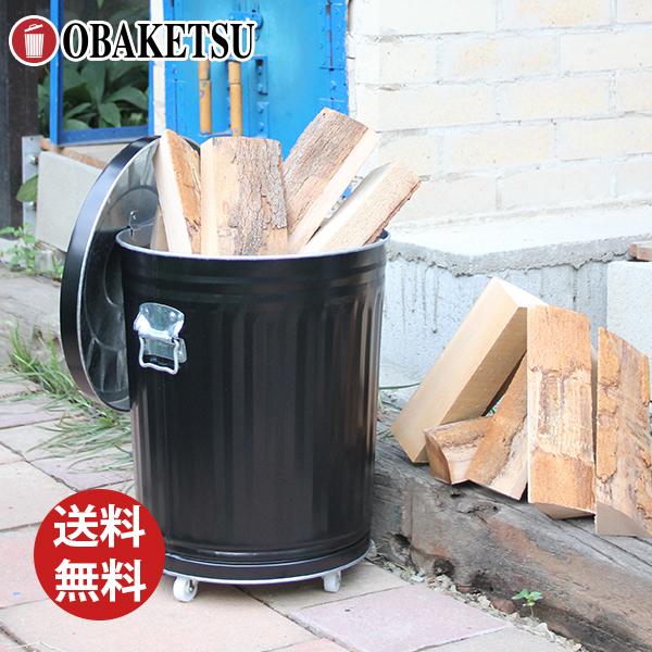 【OBAKETSU】キャスター付き灰入れバケツ薪セット大 HBKM35(30Lサイズ・黒)+薪約20kg