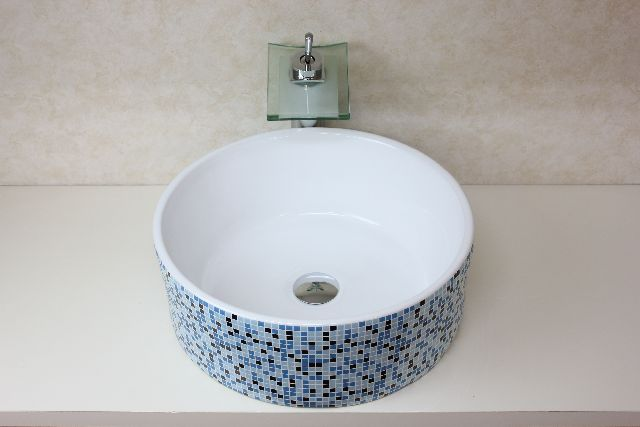 洗面ボウル(洗面ボール 手洗い鉢)+排水栓、排水Sトラップ セット おしゃれ 洗面器 洗面台 洗面化粧台 手洗い器 手洗いボウル 陶器 洗面ボウル KORS-1414B