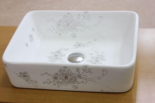 洗面ボウル(洗面ボール 手洗い鉢)+排水栓、排水Sトラップ セット おしゃれ 洗面器 洗面台 洗面化粧台 手洗い器 手洗いボウル 陶器 洗面ボウル KORS-1238p 角型