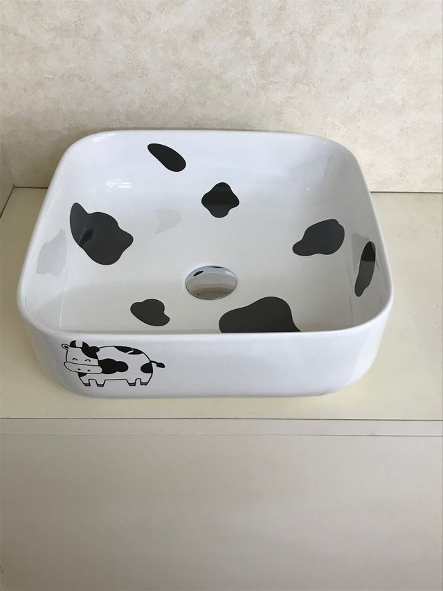 牛の絵柄の洗面ボウル(洗面ボール 手洗い鉢)+排水栓、排水Sトラップ セット おしゃれ 洗面器 洗面台 洗面化粧台 手洗い器 手洗いボウル 陶器 洗面ボウル KORS-1072C