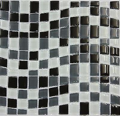 モザイクタイル ガラス モザイクタイル 11シート ガラスモザイクタイル ブラックアイスウエ-ブ KOMT-BIW diy キッチン 浴室 洗面所 トイレ 店舗 床 壁