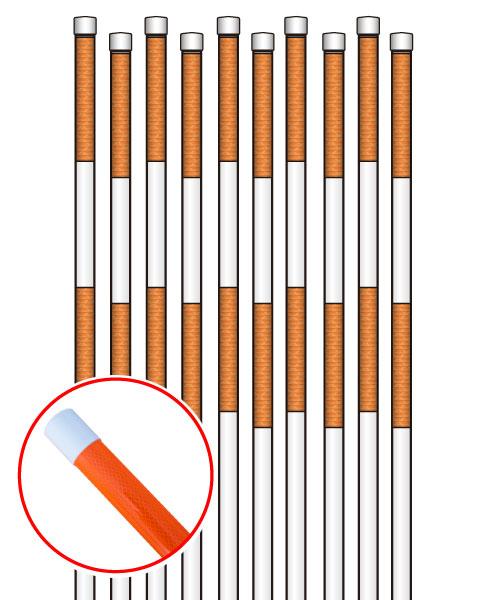 PPエコ スノーポール2m 蛍光オレンジ高輝度プリズム反射タイプ 10本セット