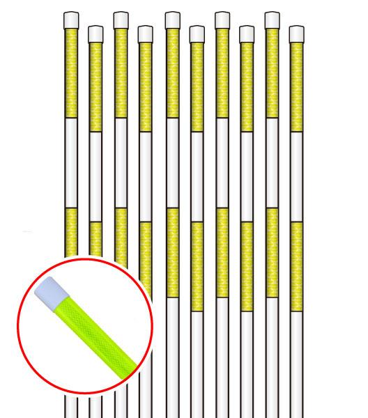 PPエコ スノーポール 2m 蛍光イエロー 高輝度プリズム反射タイプ 10本セット