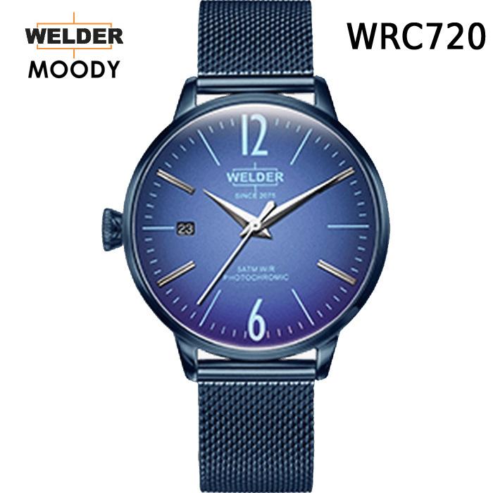 これから絶対流行ります!ヨーロッパで人気のガラスの色が変わる時計 WELDER MOODY 3HANDS ウェルダー ムーディー WRC720 腕時計 ケースサイズ36mm メッシュバンド ブルーモデル 国内正規品 男女兼用 送料無料 メーカー正規2年間保証付