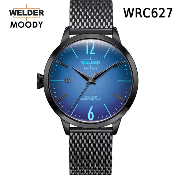 これから絶対流行ります!ヨーロッパで人気のガラスの色が変わる時計 WELDER MOODY 3HANDS ウェルダー ムーディー WRC627 腕時計 ケースサイズ38mm メッシュバンド ブラックモデル 国内正規品 男女兼用 送料無料 メーカー正規2年間保証付