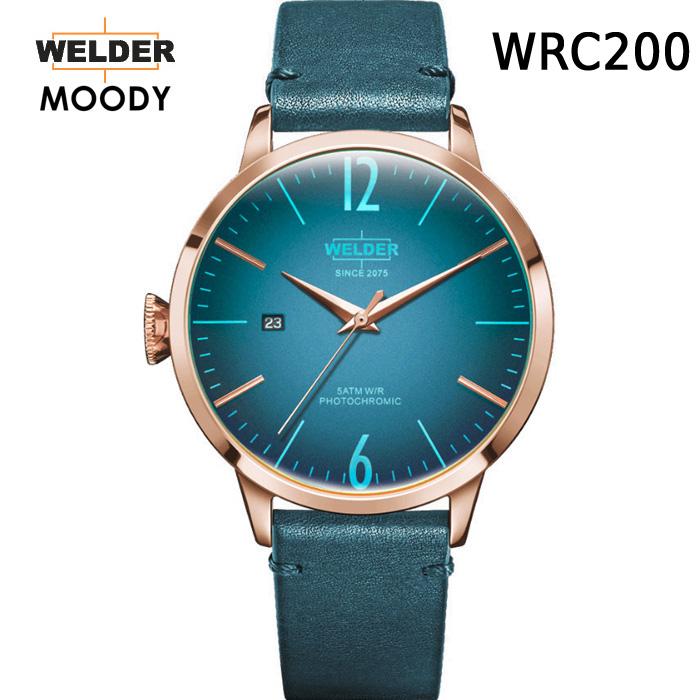 これから絶対流行ります!ヨーロッパで人気のガラスの色が変わる時計 WELDER MOODY 3HANDS ウェルダー ムーディー WRC200 腕時計 ケースサイズ42mm レザーバンド ローズゴールドモデル 国内正規品 男女兼用 送料無料 メーカー正規2年間保証付