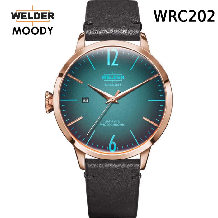 WELDER MOODY 3HANDS ウェルダー ムーディー WRC202 腕時計 ケースサイズ42mm レザーバンド ローズゴールドモデル 国内正規品 男女兼用 送料無料 メーカー正規2年間保証付 海外で人気のガラスの色が変わる腕時計