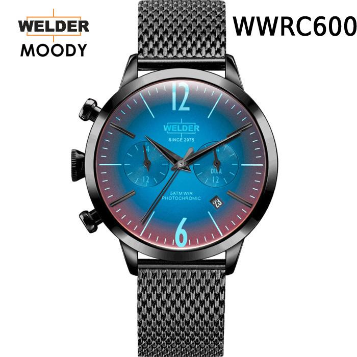 これから絶対流行ります!ヨーロッパで人気のガラスの色が変わる時計 WELDER MOODY DUAL TIME ウェルダー ムーディー デュアルタイム WWRC600 腕時計 ケースサイズ38mm メッシュバンド ブラックモデル 国内正規品 男女兼用 送料無料 メーカー正規2年間保証付
