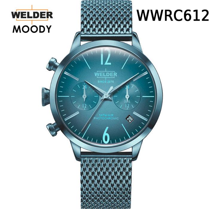 これから絶対流行ります!ヨーロッパで人気のガラスの色が変わる時計 WELDER MOODY DUAL TIME ウェルダー ムーディー デュアルタイム WWRC612 腕時計 ケースサイズ38mm メッシュバンド アイスブルーモデル 国内正規品 男女兼用 送料無料 メーカー正規2年間保証付