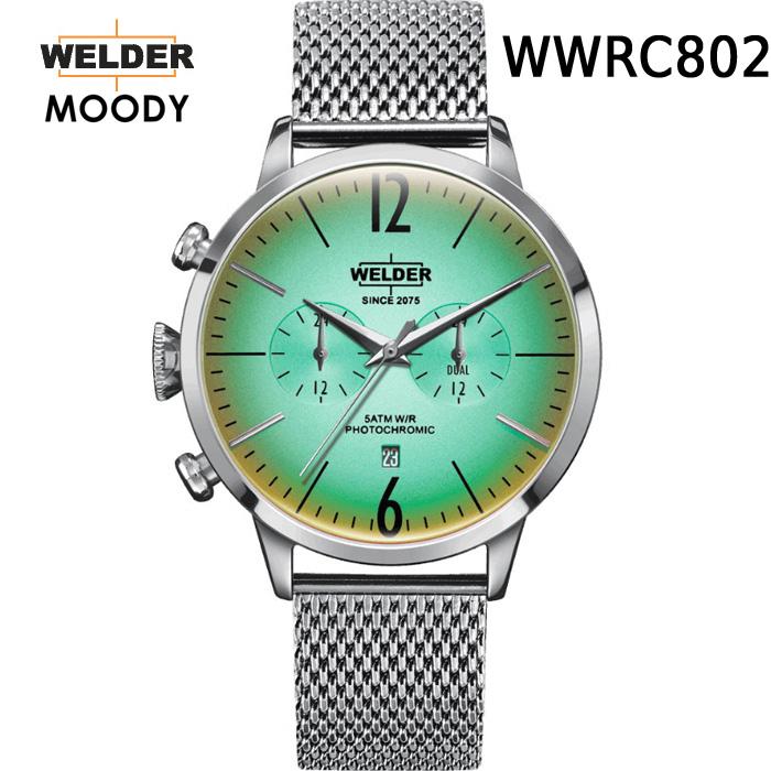 【国内正規品】WELDER MOODY ヨーロッパで人気のガラスの色が変わる時計 WWRC802 DUAL TIME ウェルダー ムーディー デュアルタイム 腕時計 ケースサイズ42mmタイプ 男女兼用 送料無料 インスタ映え
