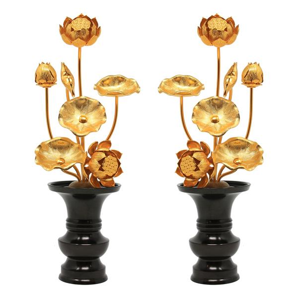 常花セット(黒花瓶付)5号 7本立 一対(2個セット) 総高さ25.5cm アルミ常花 送料無料