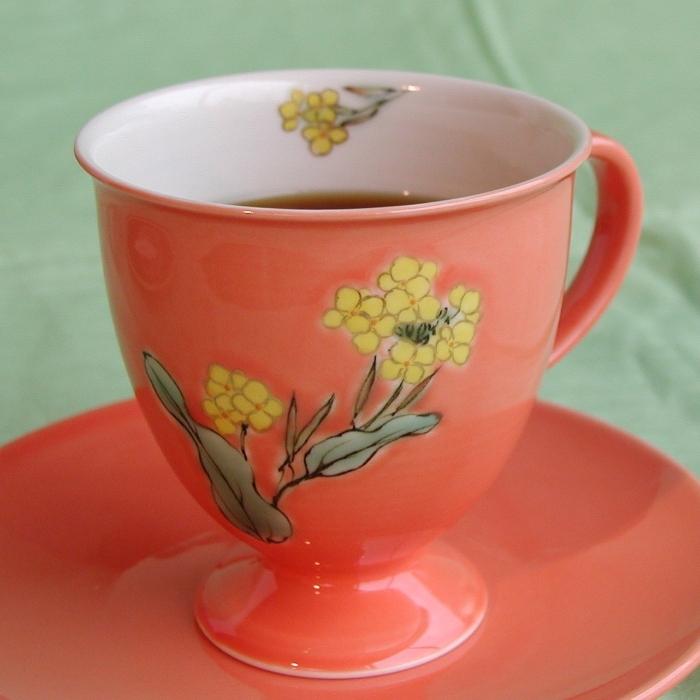 京焼・清水焼カップ&ソーサー(オレンジ・菜の花)