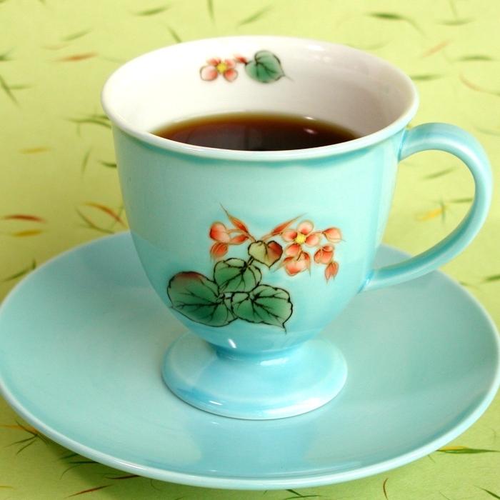 京焼・清水焼カップ&ソーサー(ブルー・シュウカイドウ)