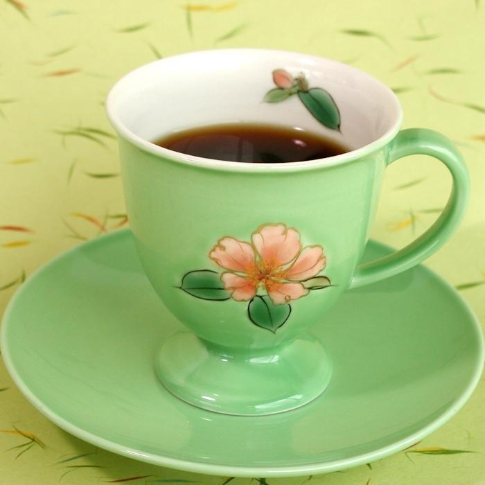 京焼・清水焼カップ&ソーサー(グリーン・サザンカ)