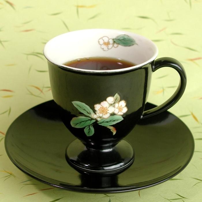 京焼・清水焼カップ&ソーサー(ブラック・お茶の花)