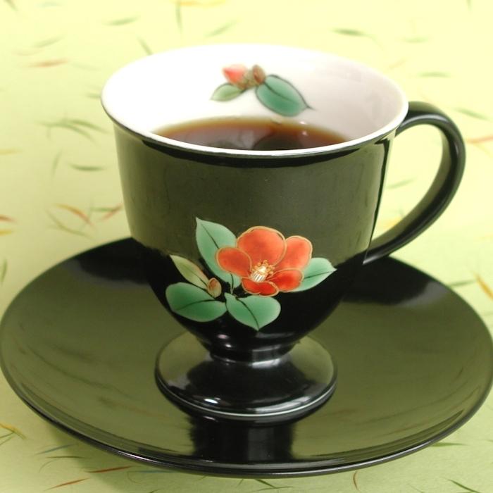 京焼・清水焼カップ&ソーサー(ブラック・椿)
