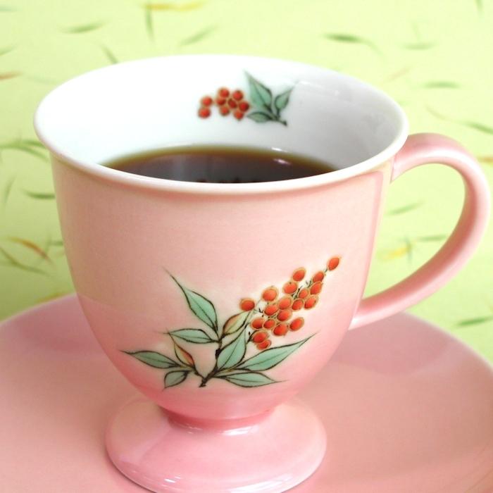 京焼・清水焼カップ&ソーサー(ピンク・ナンテン)
