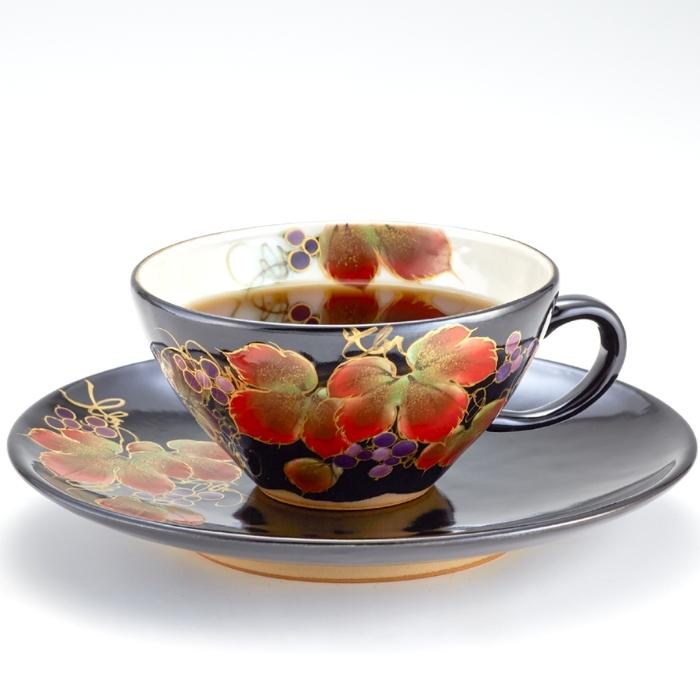京焼・清水焼カップ&ソーサー 限定品 (山ぶどう)