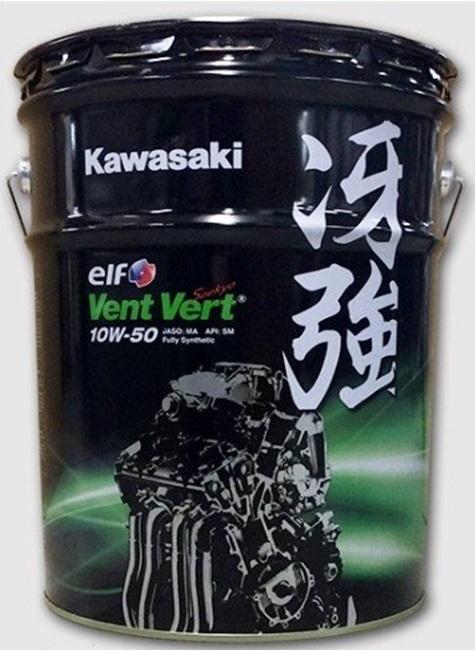 20Lペール缶 KAWASAKI カワサキ カワサキエルフ・elf Vent Vert(ヴァン・ヴェール)・冴強 10W-50 J0ELF-K012 4サイクルエンジンオイル 緑のオイル