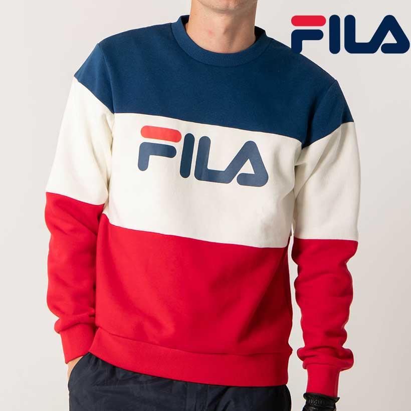 FILA GOLF フィラ ゴルフ トレーナー 無地切替 UV メンズ 本物◆ クルートレーナー ショッピング 秋冬 保温 ビックロゴ