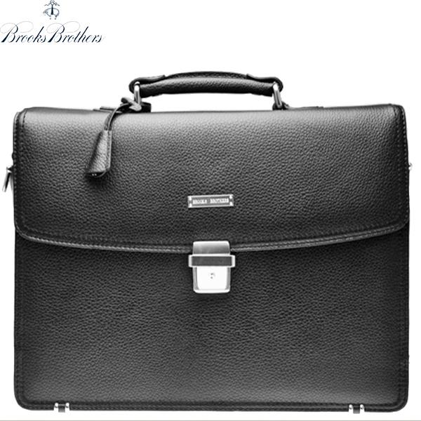 ブルックスブラザーズ ブリーフケース BROOKS BROTHERS 本革 レザー バッグ PC収納 フラップ ビジネス鞄 アメトラ 黒 ブラック