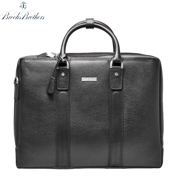 ブルックスブラザーズ ブリーフケース BROOKS BROTHERS 本革 レザー バッグ PC収納 ジップ ビジネス鞄 アメトラ 黒 ブラック