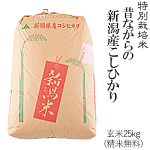 令和元年産特別栽培米昔ながらの新潟産こしひかり2等米玄米25kg/白米4.5kg×5袋(精米無料)送料無料(一部地域を除く)【あす楽対応_本州】【あす楽対応_関東】【あす楽対応_四国】