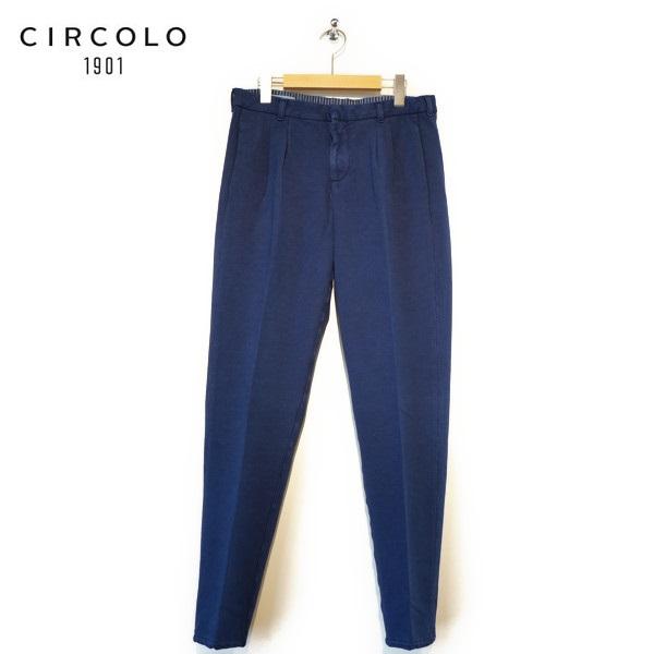【送料無料】CIRCOLO 1901 チルコロ 製品染め ストレッチコットン タックパンツ ネイビー 【7CU155601】