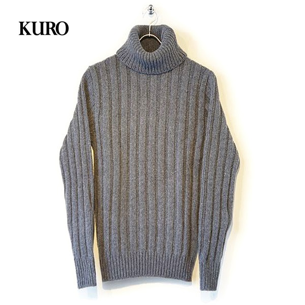 [送料無料]KURO(クロ) メンズ 3G RIB KNIT TURTLENECK SWEATER リブニット タートルネックセーター 【961715】