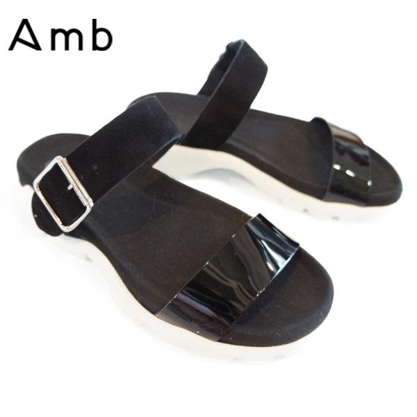 Amb(エーエムビー)コンビレザー ストラップサンダル【HANS】BLACK