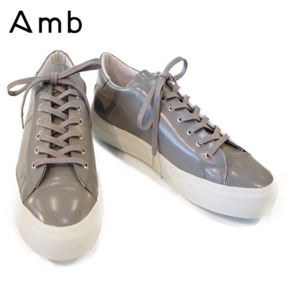 Amb(エーエムビー)ガラスレザー キャップトゥ スニーカー【EL】グレー GREY ホワイトソール