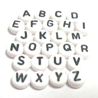 アクリルビーズ*約7×4mm*アルファベットビーズ【N~Z/無地】*1個