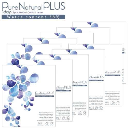 【ピュアナチュラルワンデーがリニューアル!】【送料無料!10箱】ピュアナチュラル プラス 38% 低含水 Pure Natural PLUS 30枚入 10箱 1日使い捨て コンタクトレンズ