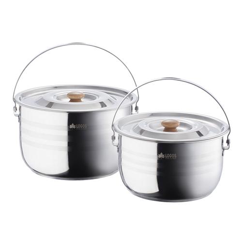 ロゴス(LOGOS) クッカー(鍋)セット 3層・ステンレス吊り鍋セット2 81210003 調理用品 食器類 クッカー(鍋) 調理器具 キャンプ アウトドア