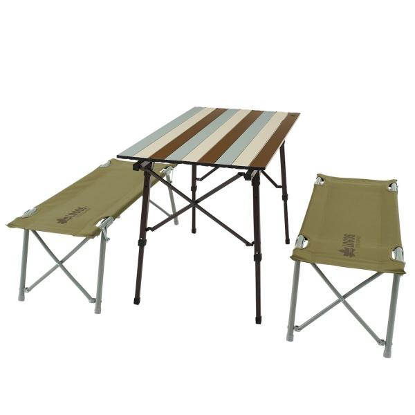 LOGOS(ロゴス) LOGOS Life オートレッグベンチテーブルセット4(ヴィンテージ) アウトドアファニチャー アウトドアテーブルセット キャンプ アウトドア 73188002