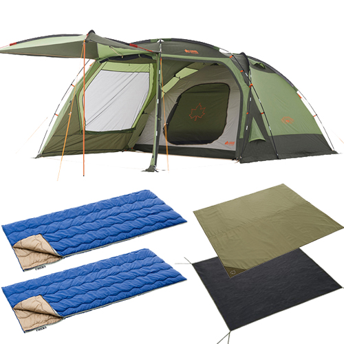 2018版neosスクリーンドゥーブル 夏を満喫 5点セット テント シート マット 寝袋 セット キャンプ アウトドア