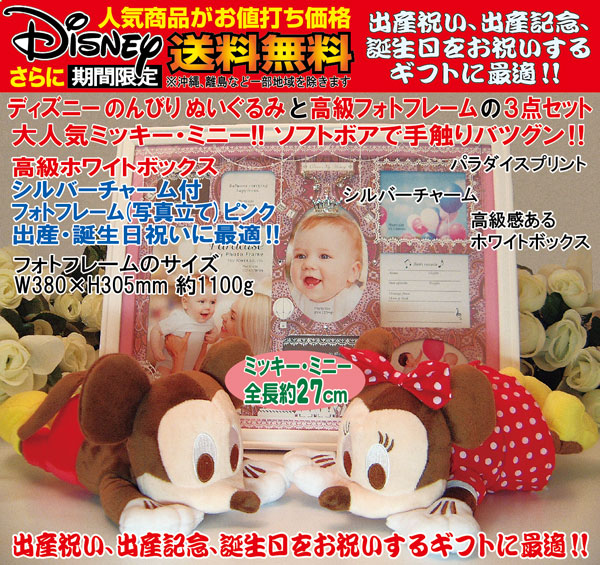 Disneyディズニー(のんびりミッキー・ミニー)ぬいぐるみと、高級フォトフレーム(パラダイス・ピンク)のセット、出産祝い、出産記念ギフト、誕生日プレゼント、誕生日ギフト、送料無料(沖縄と離島を除く)